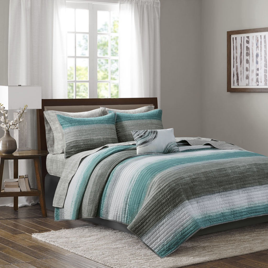Madison Park Essentials - Saben Complete Reversible Coverlet and Cotton Sheet Set - Aqua - Full