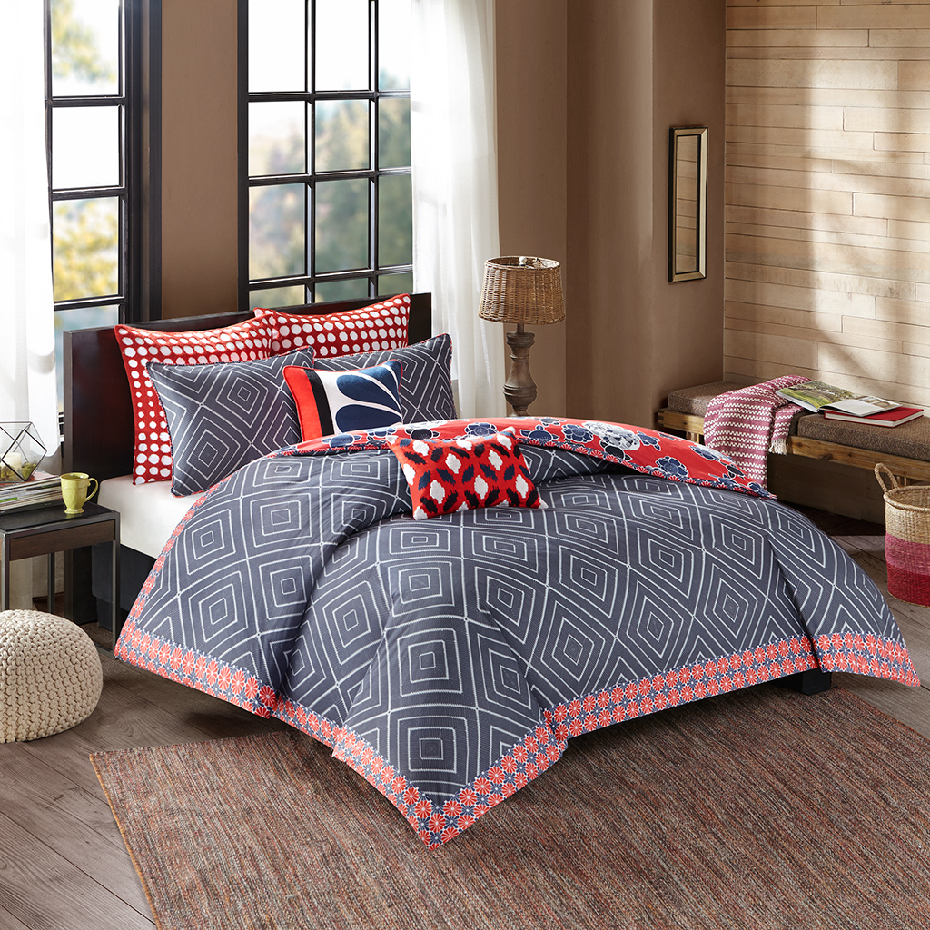 Josie by Natori - Diamond Geo Cotton Reversible Print comforter set - Multi - Twin