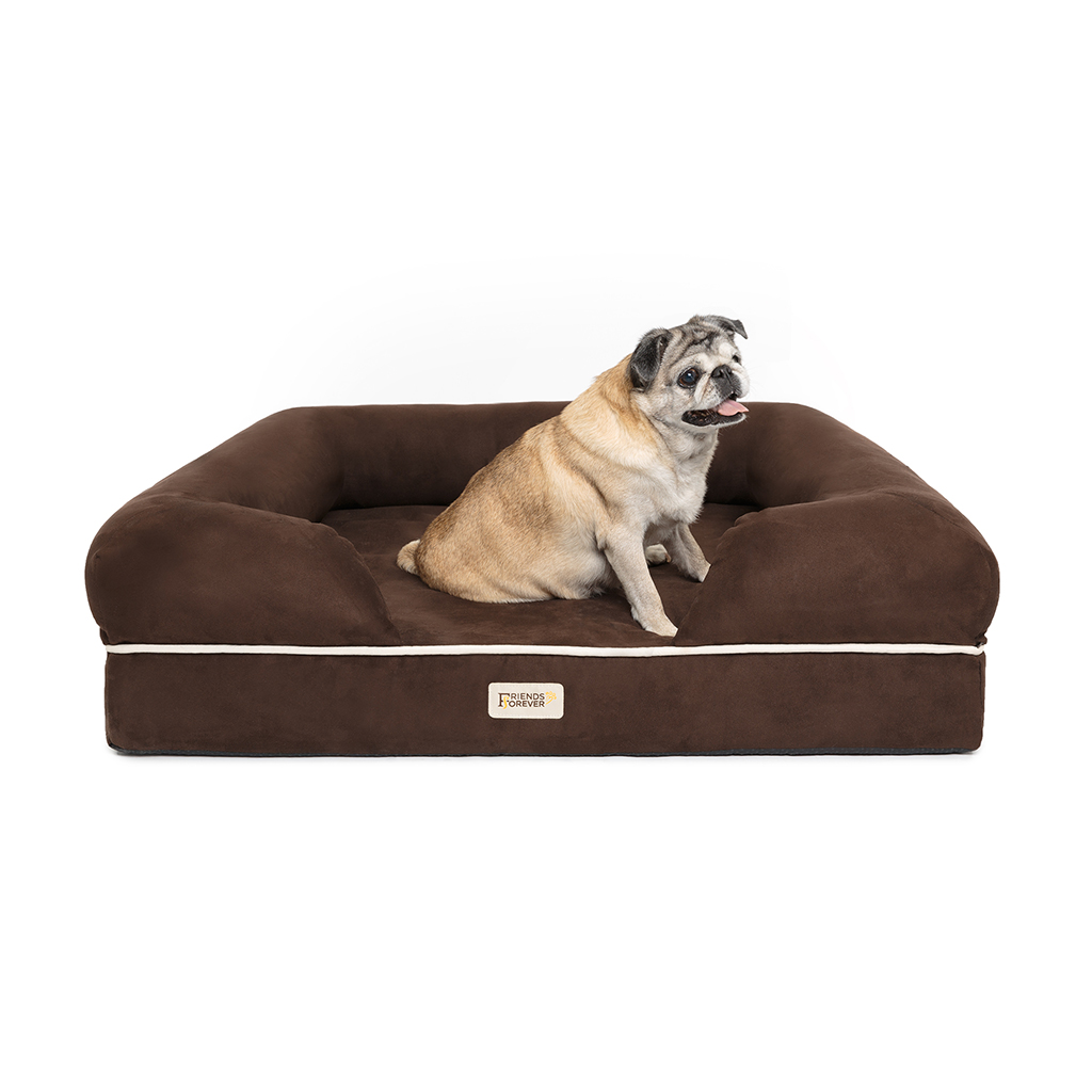 Friends Forever - Chester Pet Couch with Solid Memory Foam - Brown - 28x36+9