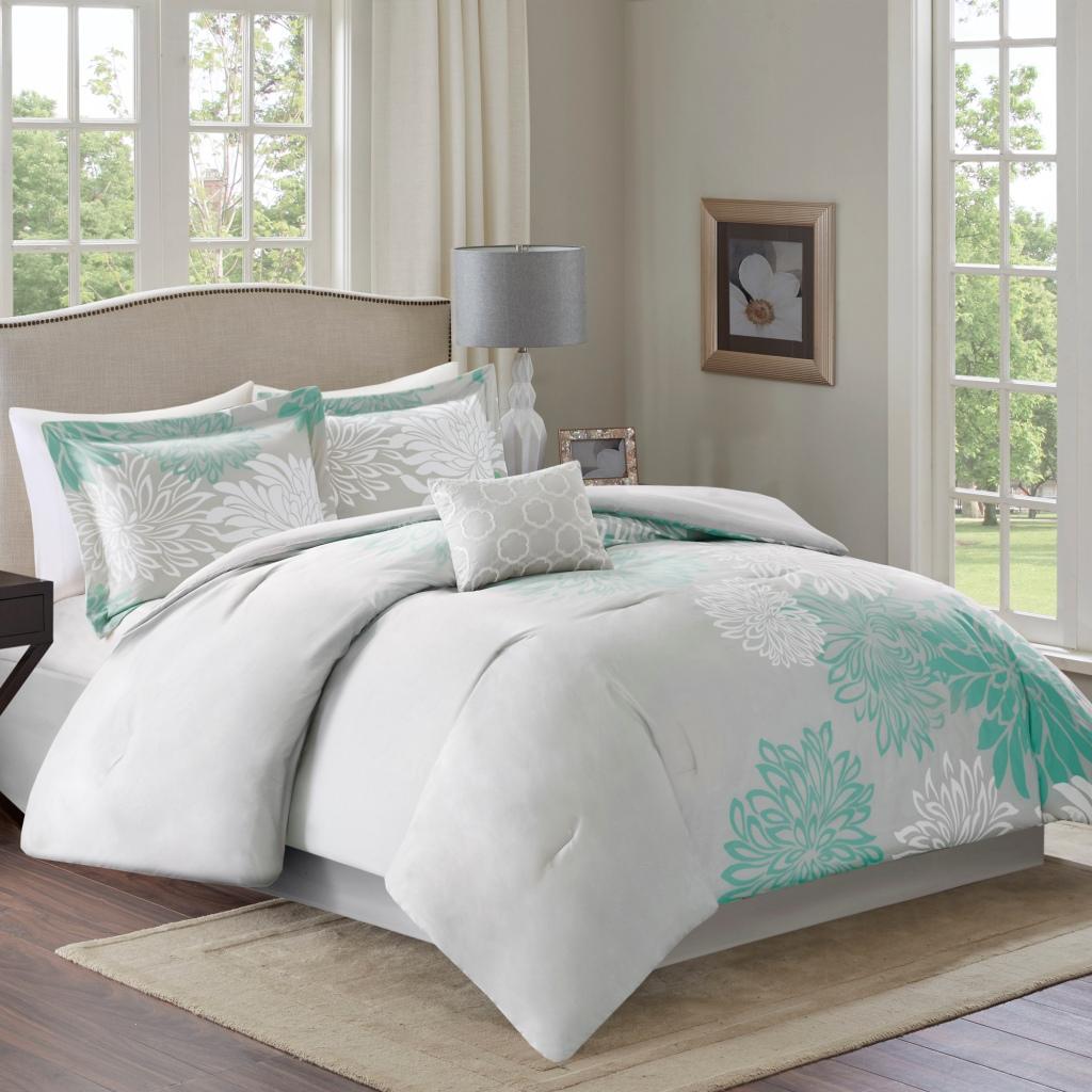 Comfort Spaces - Enya 5 Piece Comforter Set - Aqua - Full/Queen
