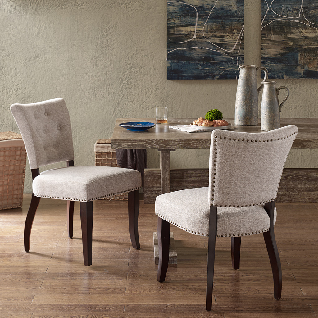 INK+IVY - Brooklyn Dining Chair (Set of 2) - Cream - See below 100%Polyester,Rubber Solid Wood + Upholstery,all foam