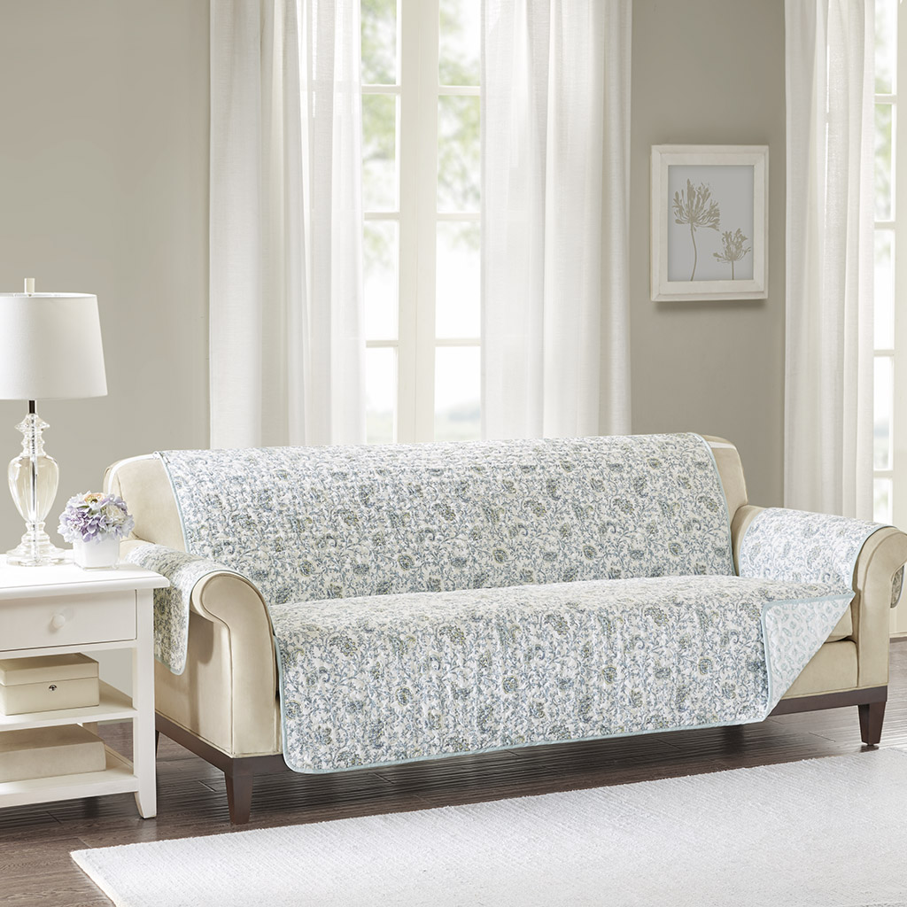 Madison Park - Dawn Cotton Printed Sofa Protector - Blue - Sofa 100% Cotton reversible print face and back, polyester filling, reversible elastic strap