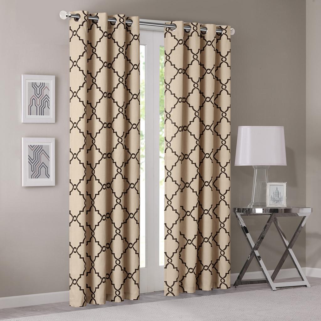 "Madison Park - Saratoga Fretwork Print Grommet Top Window Curtain - Khaki - 84"" Panel"