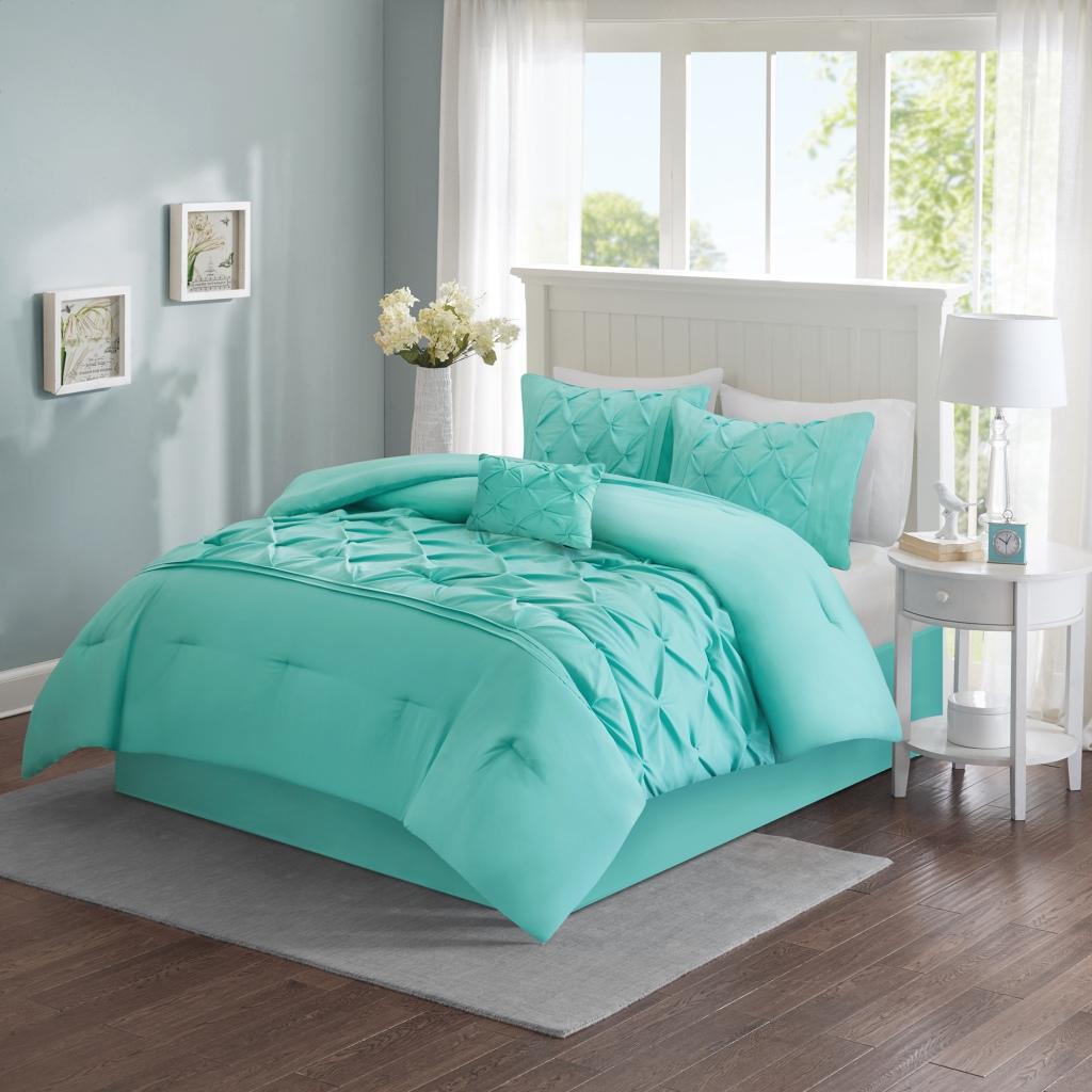 Comfort Spaces - Cavoy 5 Piece Tufted Comforter Set - Aqua - Queen