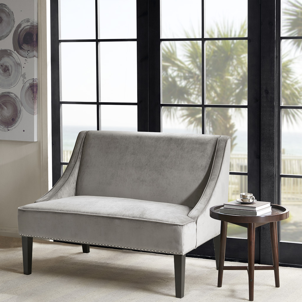 Madison Park - Avalon Swoop Arm Settee - Grey - See below