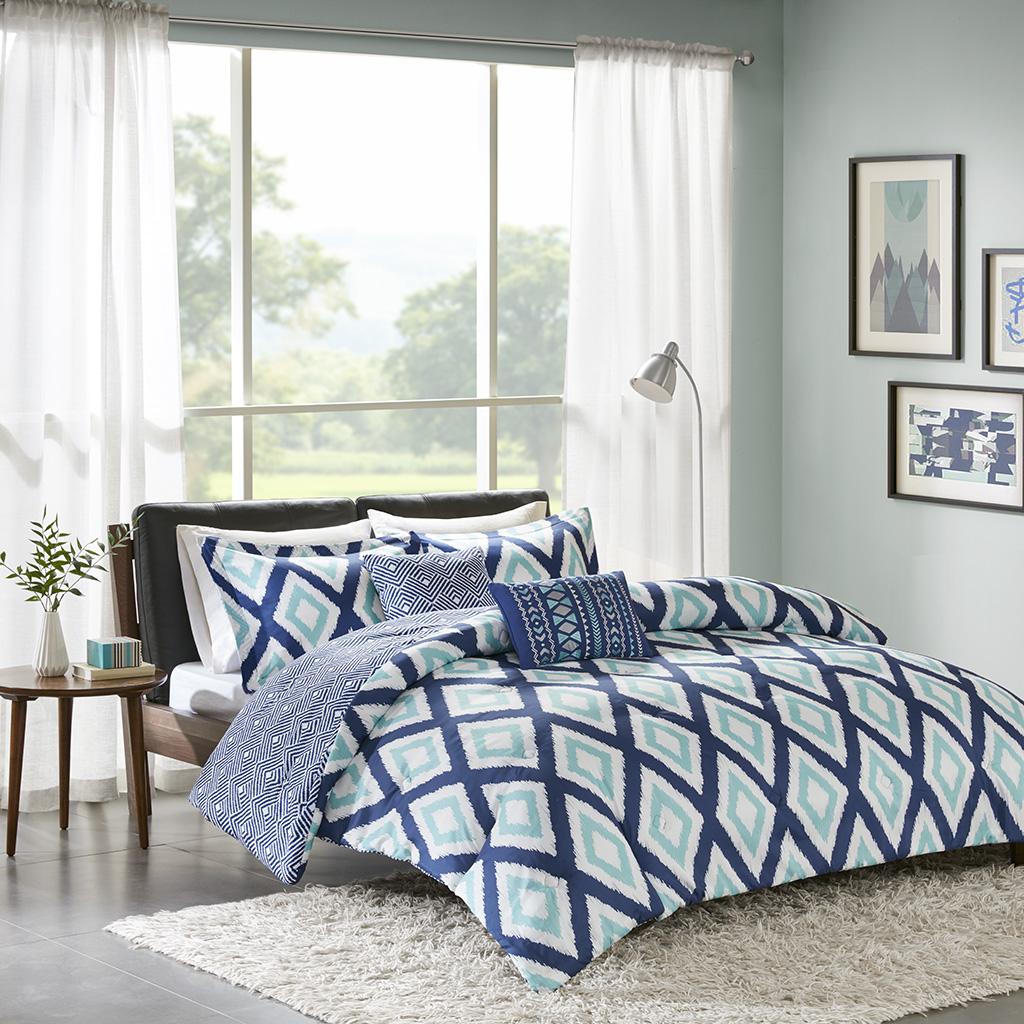 Avenue 8 - Irina 5 Piece Comforter Set - Indigo - Full/Queen