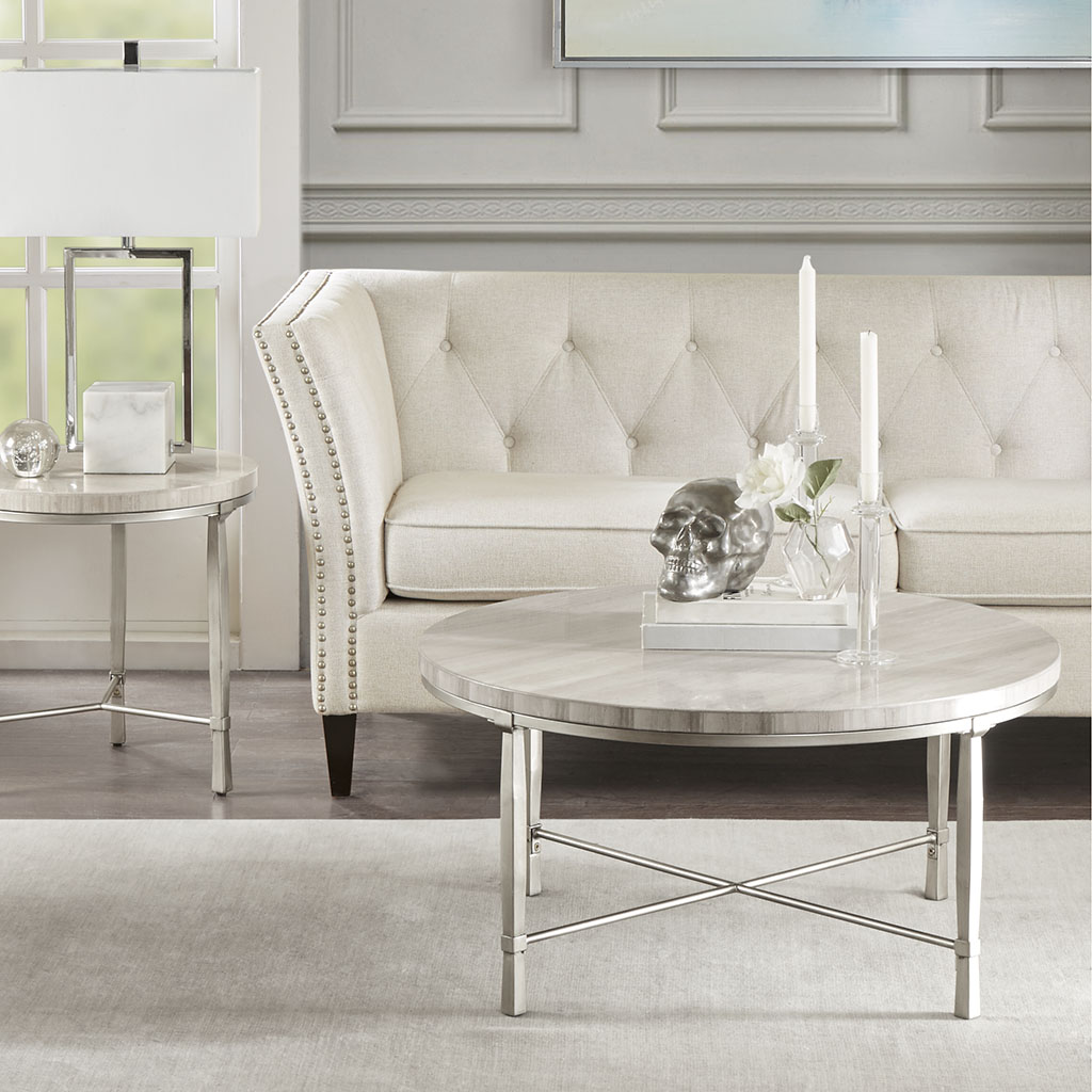 Material: Marble Top, Metal Base  Top Finish: White