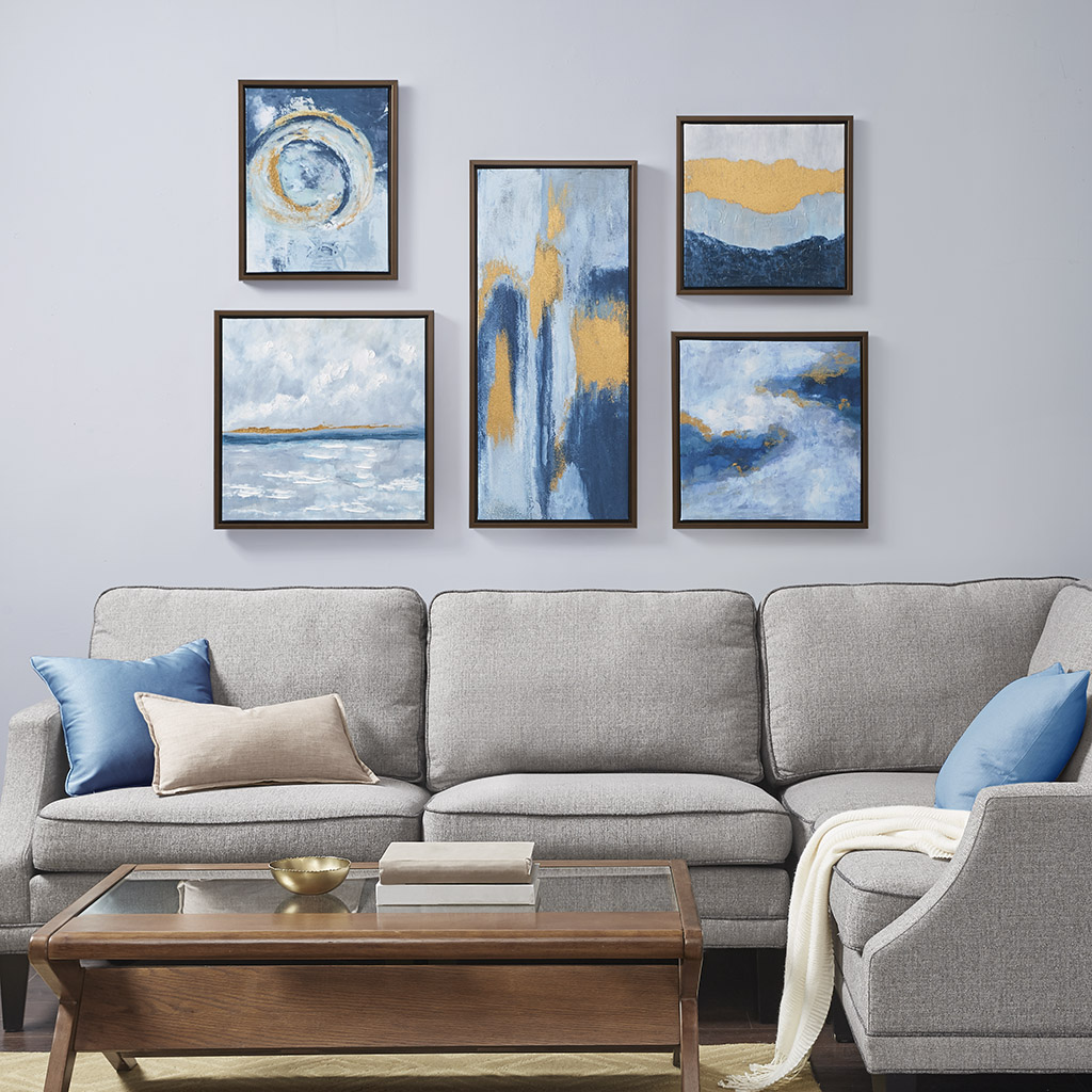 Madison Park - Teal Rendition Gallery Art with Gold Foil and Bronze Frame 5 Piece Set - Teal - See below