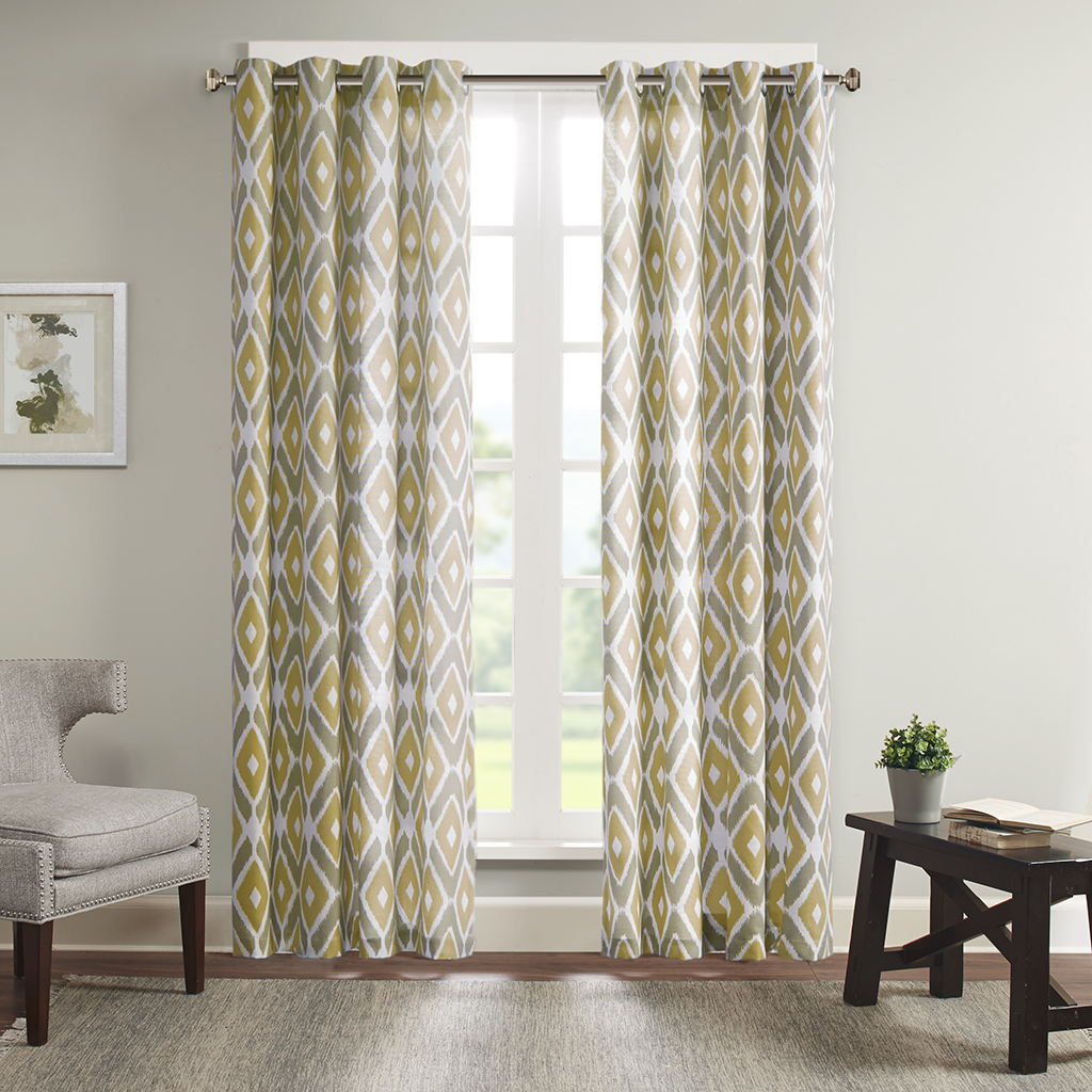 "Madison Park - Ashlin Diamond Printed Window Curtain - Yellow - 95"" Panel"