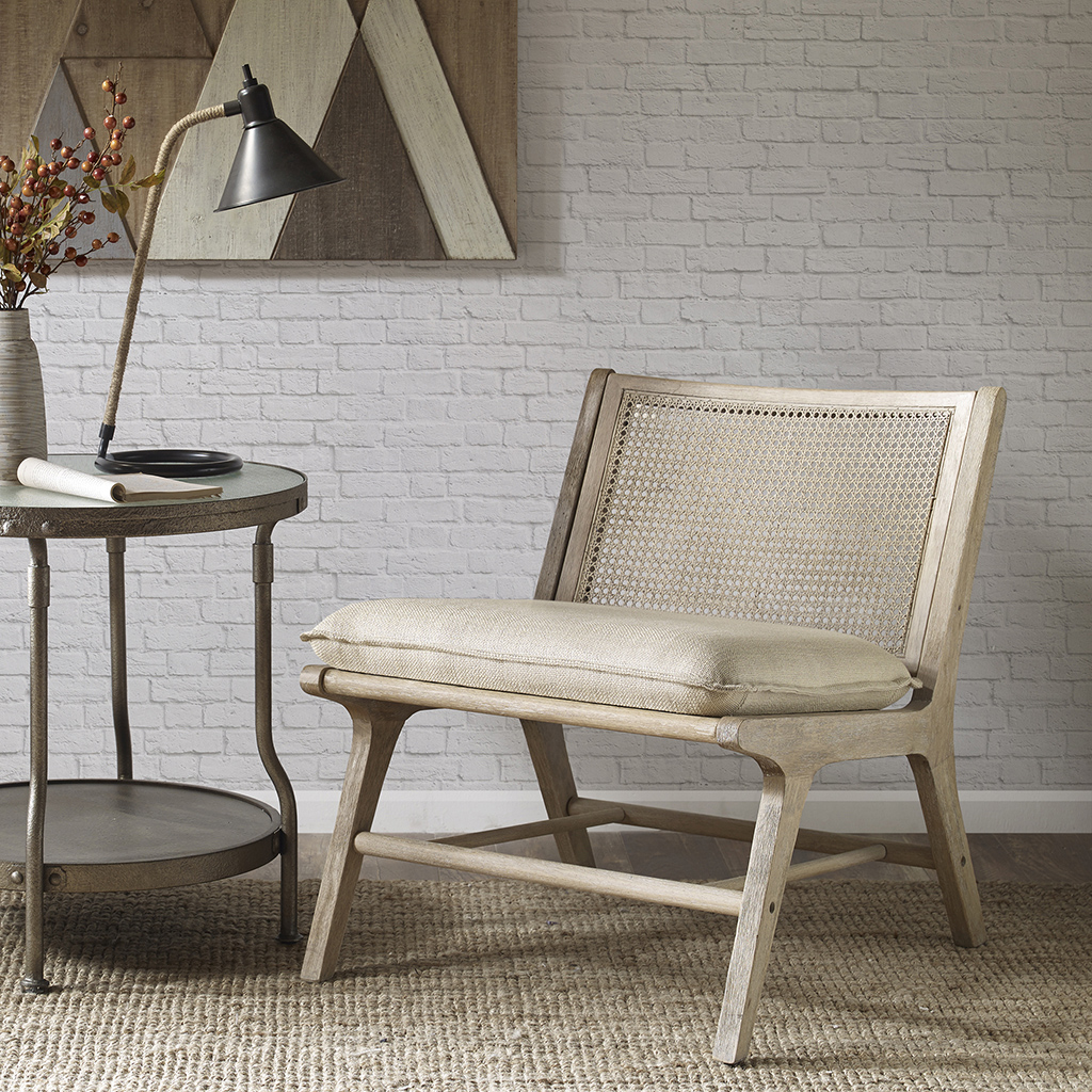INK+IVY - Melbourne Accent Chair - Tan/Natural - See below Rubberwood solid + Upholstery