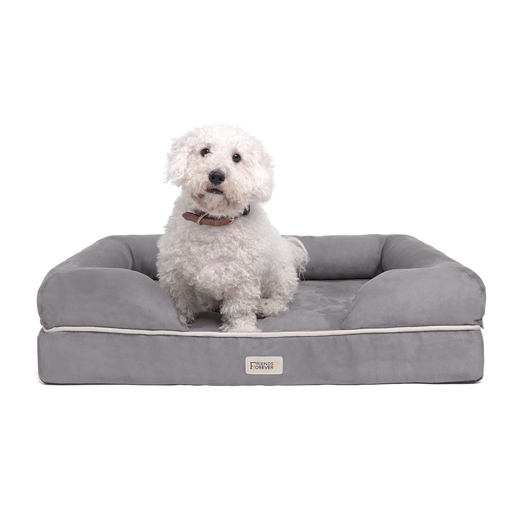 Friends Forever - Chester Pet Couch with Solid Memory Foam - Grey - 28x36+9