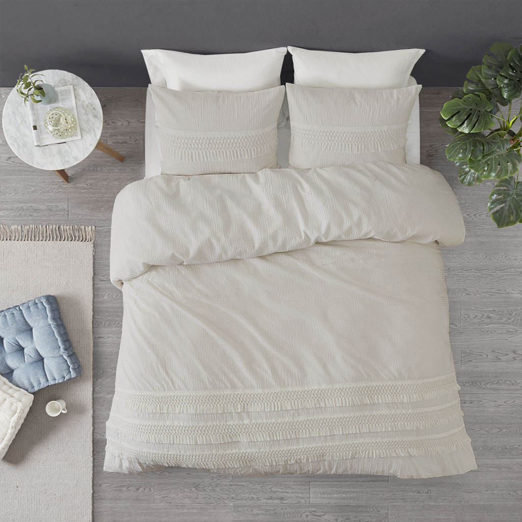 Madison Park - Amaya 3 Piece Cotton Seersucker Duvet Cover Set - Ivory - King/Cal King