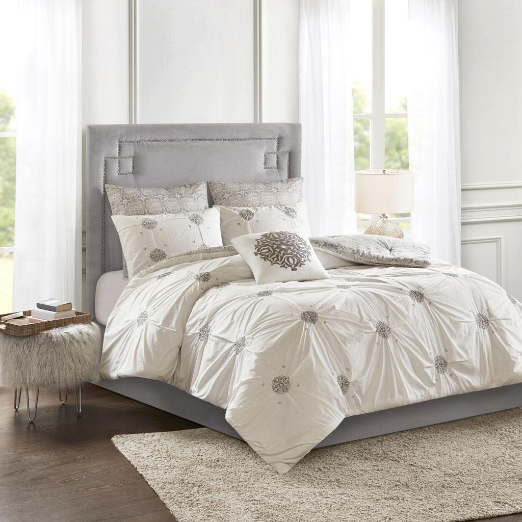 Madison Park - Malia 6 Piece Embroidered Cotton Reversible Comforter Set - Grey/Ivory - King/Cal King