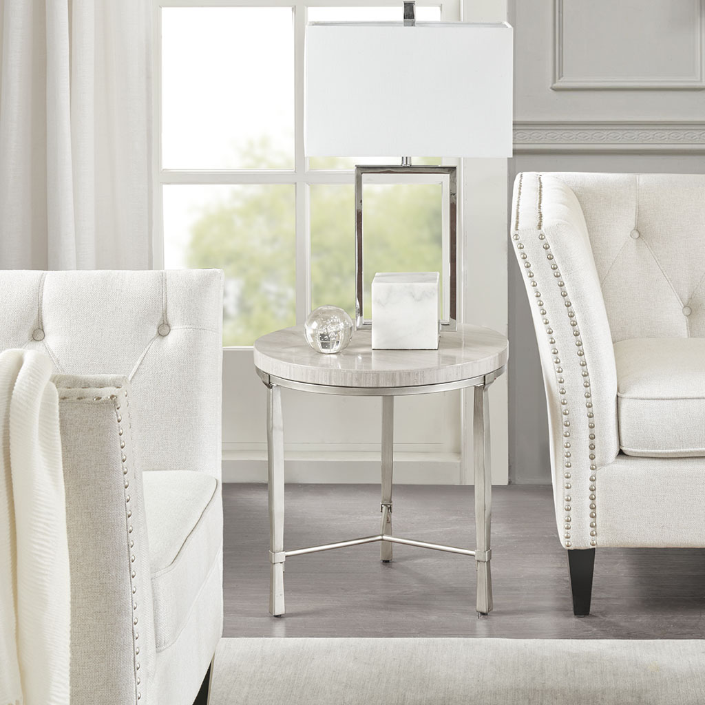 Madison Park - Reese Round End Table with Marble Veneer Top - Silver/Cream - See below