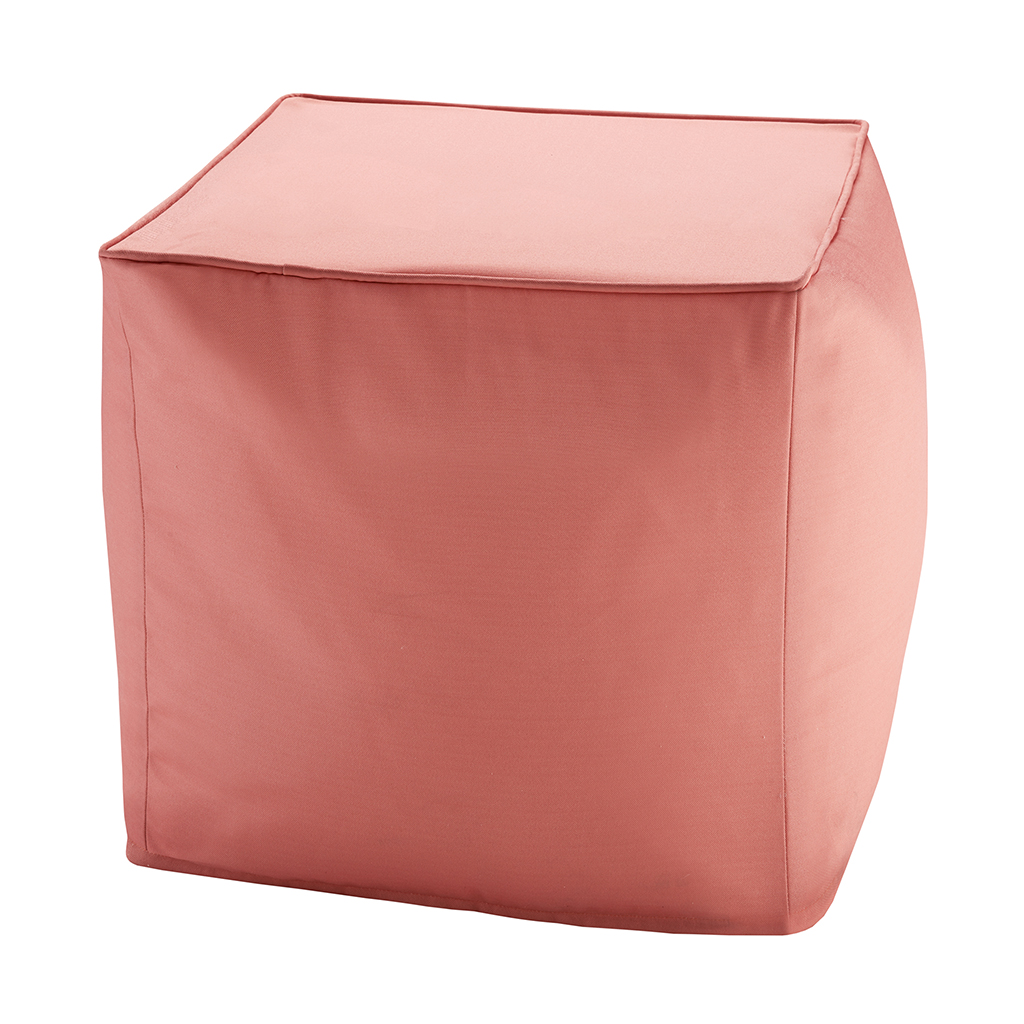 Madison Park - Pacifica Solid 3M Scotchgard Outdoor Square Pouf - Coral - 18x18x18