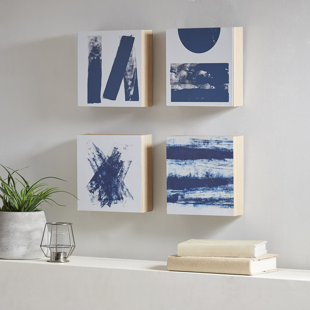 Madison Park - Stamp And Roll Blue 4 Piece Framed Art Wood Veneer Frame - Blue - See below