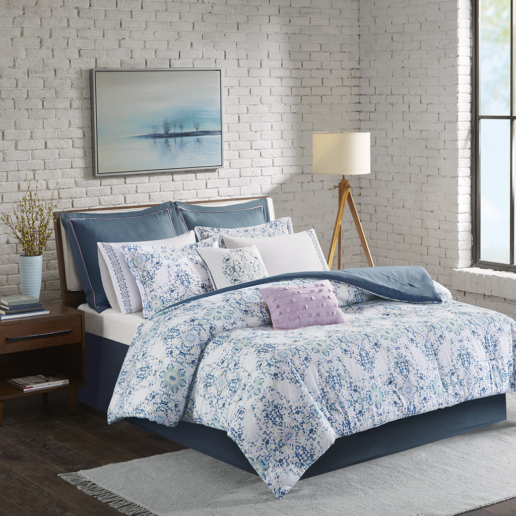 Madison Park - Vero 10 Piece Cotton Printed Comforter Set - Blue - King