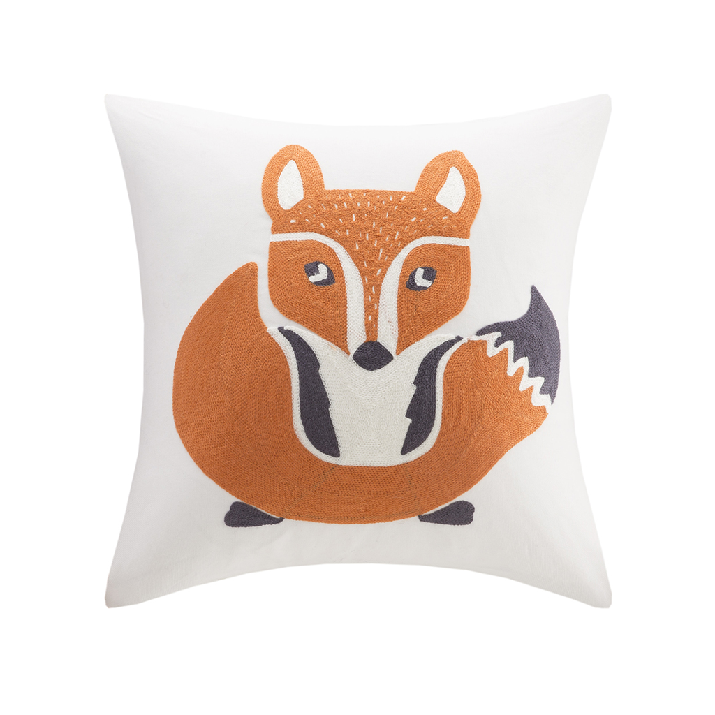 INK+IVY Kids - Foxy Embroidered Square Pillow - Multi - 16x16''
