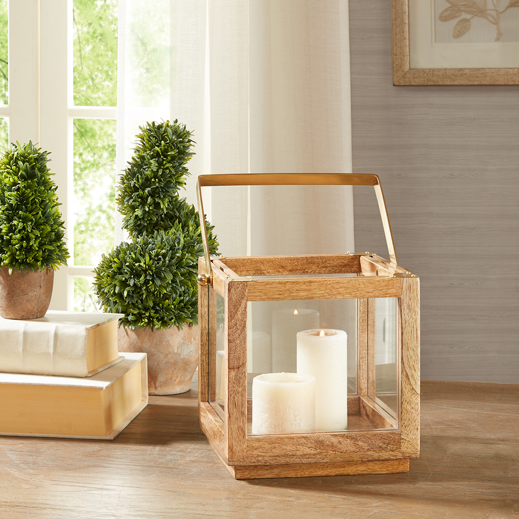 Madison Park - Parker Brass Accent Lantern - Natural - Medium
