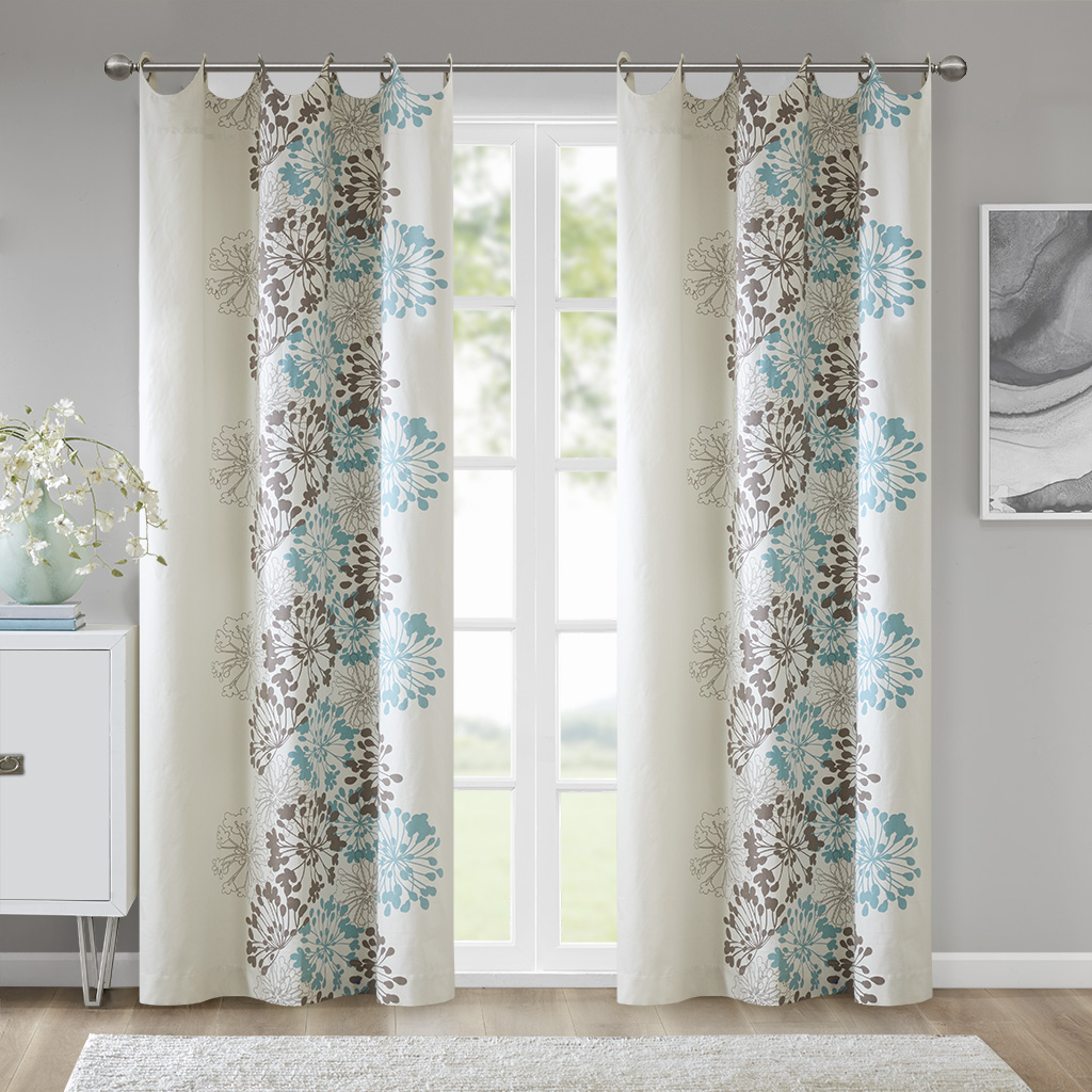 "Madison Park - Anaya Window Curtain - Blue/Brown - 84"" Panel"
