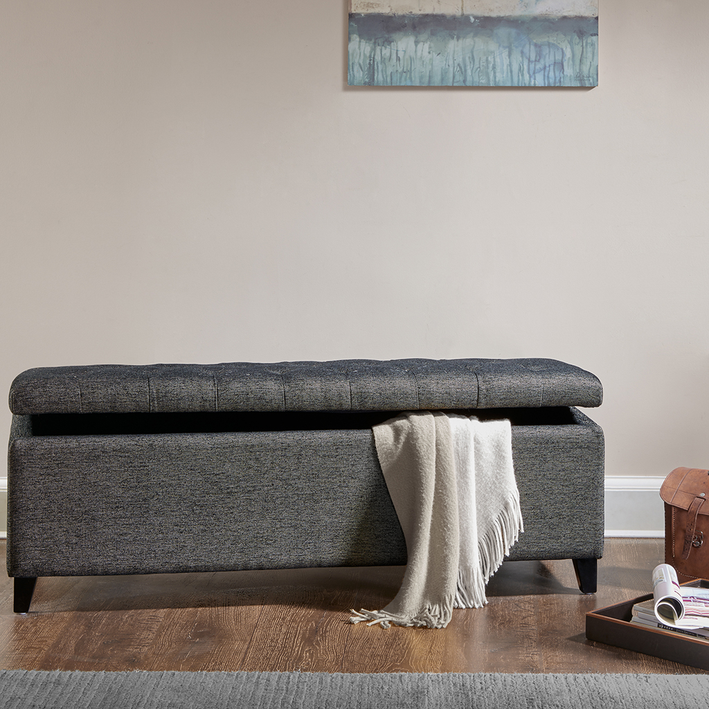 Madison Park - Shandra Tufted Top Storage Bench - Charcoal - See below