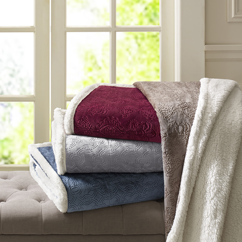 Madison Park - Elma Oversized Textured Plush Throw - Burgundy - 60x70