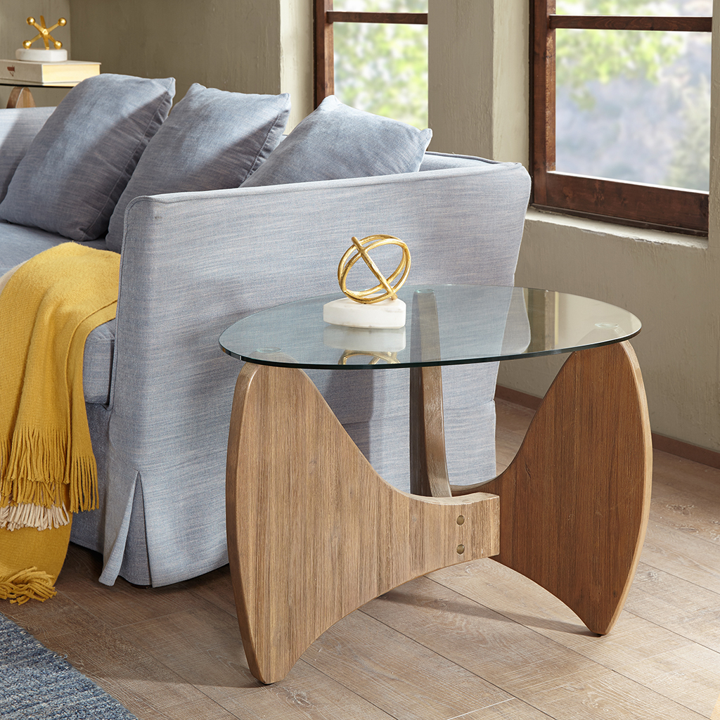 Madison Park - Rupert Glass Top End Table - Natural - See below