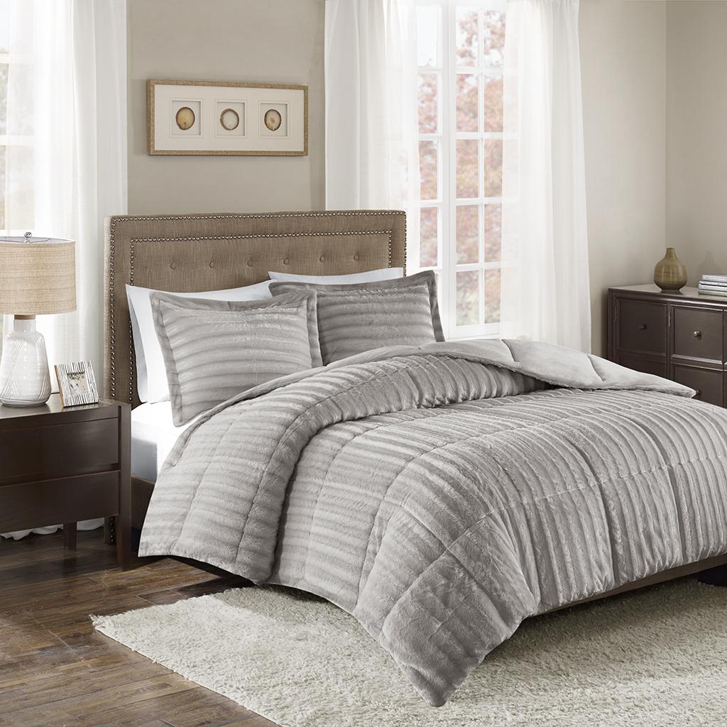 Madison Park - Duke Faux Fur 3 Piece Comforter Set - Grey - Full/Queen