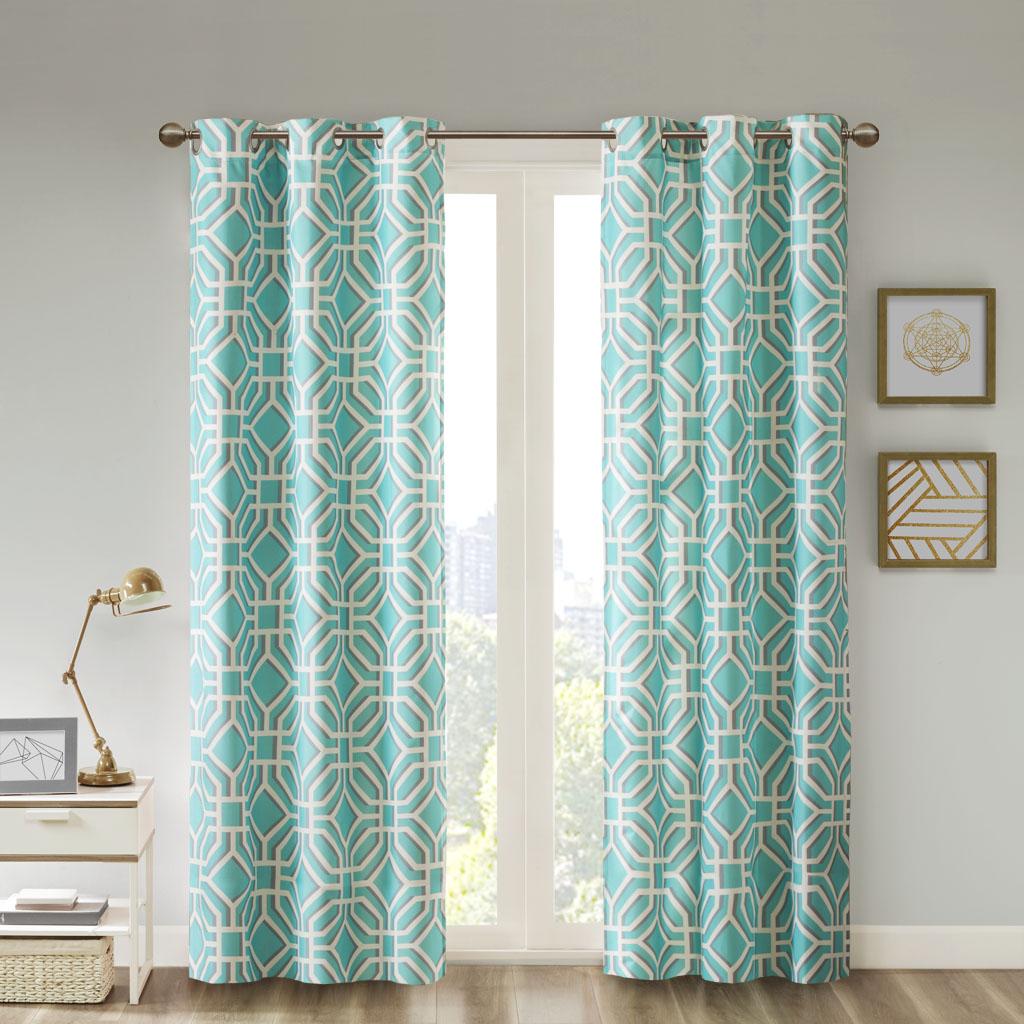 "Intelligent Design - Maci Window Curtain - Aqua - 84"" Panel"