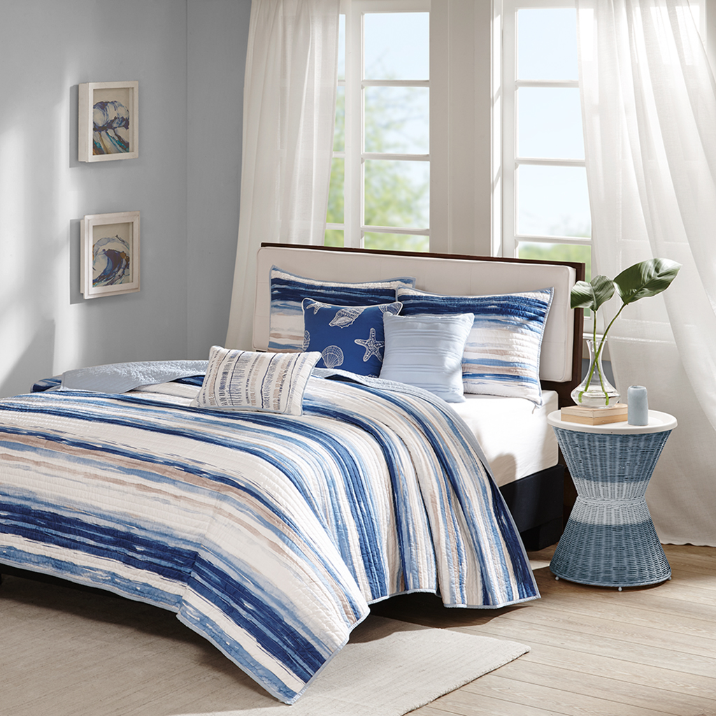 Madison Park - Marina 6 Piece Quilted Coverlet Set - Blue - King/Cal King