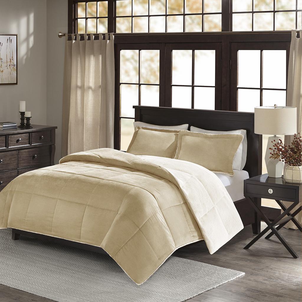 Madison Park - Jackson Corduroy Reverse to Berber Comforter Mini Set - Tan - Full/Queen