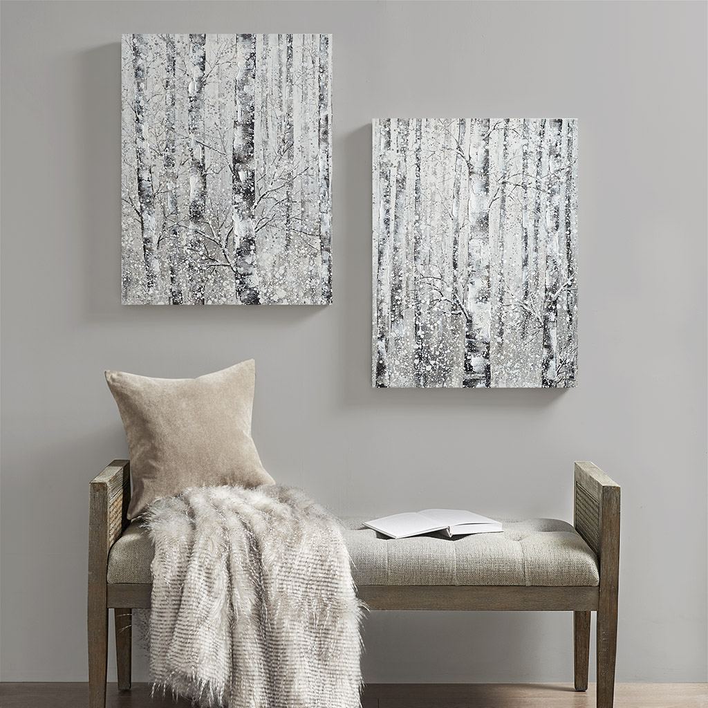 Madison Park - Winter Forest Hand Embellished Printed Canvas 2 Piece Set - Black/White - See below