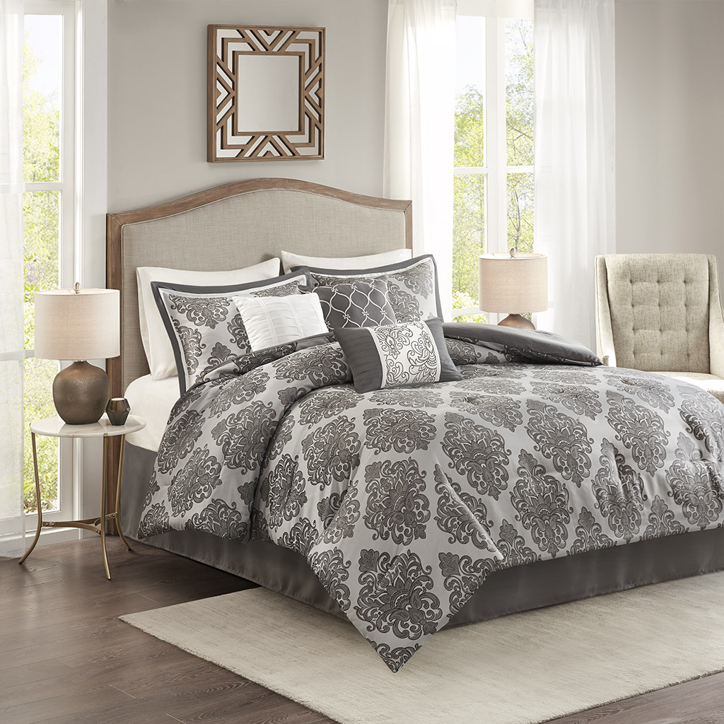 Madison Park - Lawson 7 Piece Jacquard Comforter Set - Grey - King