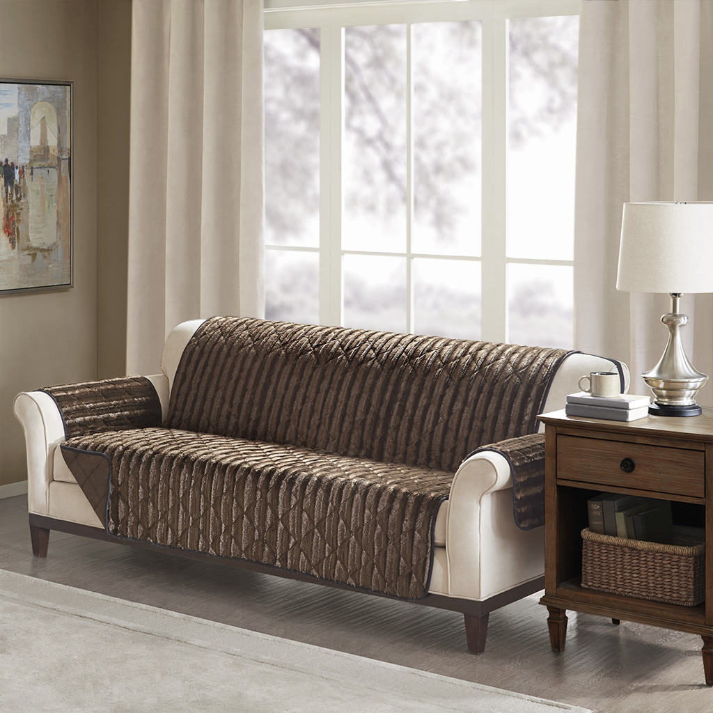 Madison Park - Duke Faux Fur Sofa Protector - Chocolate - Sofa Face: brushed long fur; reverse: mink, 100% polyester; filling: bonded fiber, 100% polyester