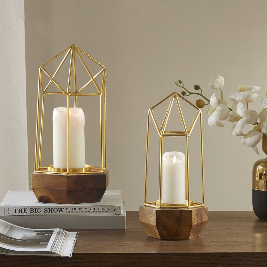 Madison Park - Barraca Pyramid Candle Holder - Gold - Small