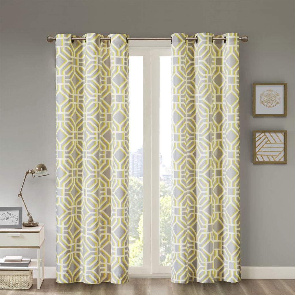 "Intelligent Design - Maci Window Curtain - Yellow - 84"" Panel"