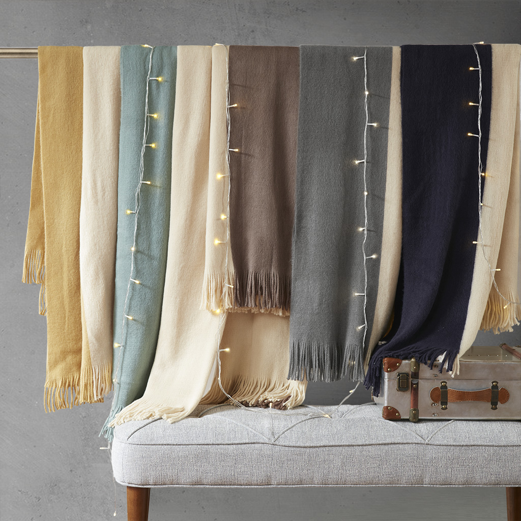 INK+IVY - Stockholm Color Block Faux Cashmere Throw - Taupe - 50x60