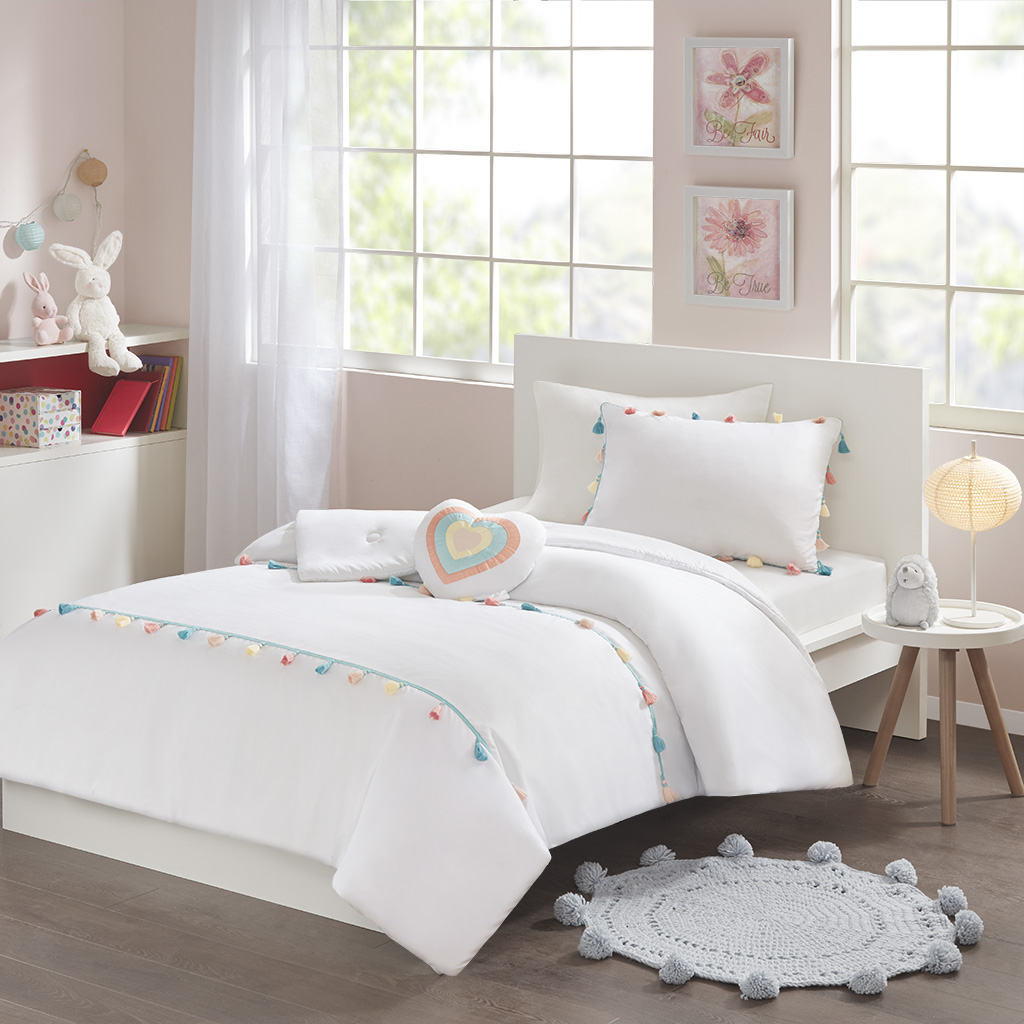 Mi Zone Kids - Tessa Tassel Comforter Set - White - Full/Queen