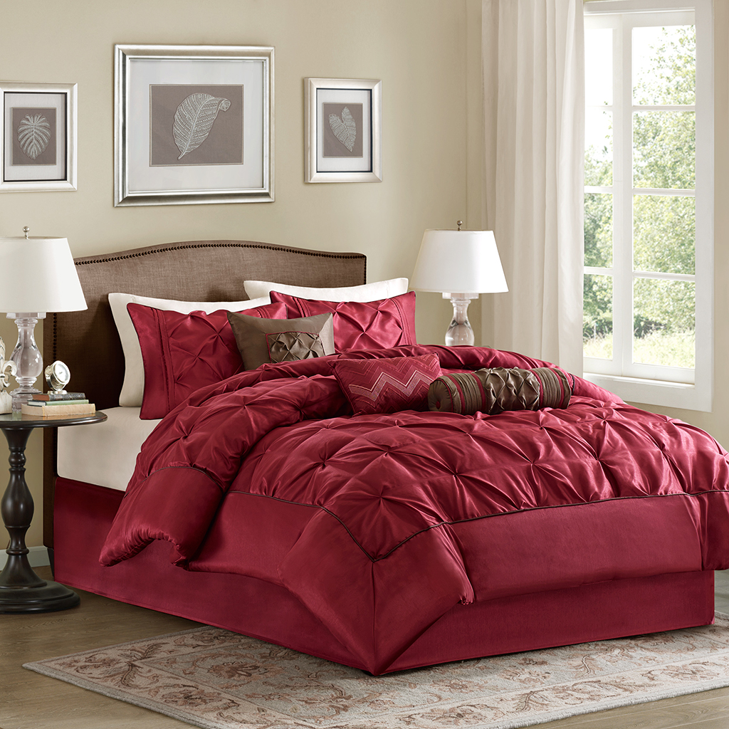 Madison Park - Laurel 7 Piece Tufted Comforter Set - Red - King