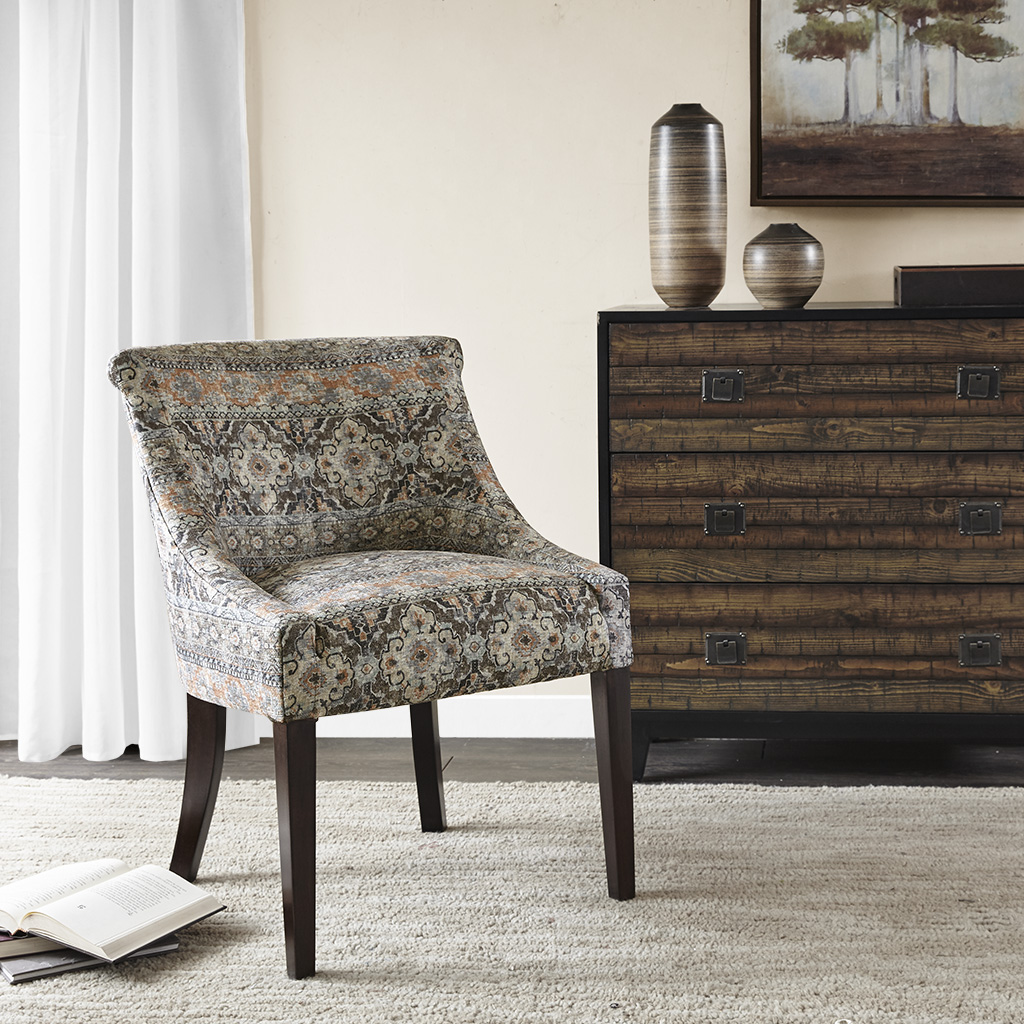 Madison Park - Caitlyn Roll Back Accent Chair - Brown Multi - See below