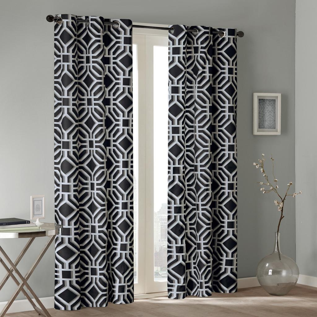 "Intelligent Design - Maci Window Curtain - Black - 84"" Panel"