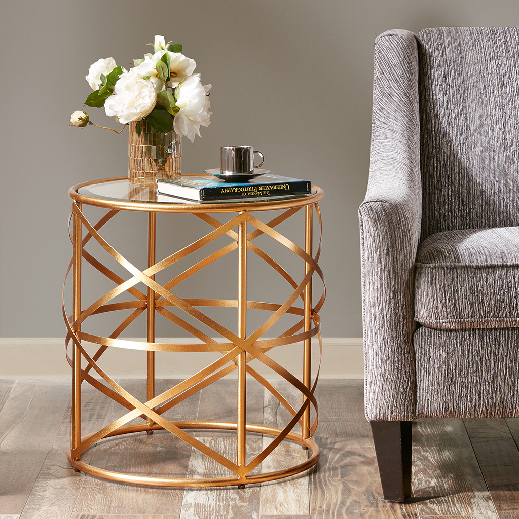 Madison Park - Nora 20-inch Round End Table with Metallic Gold Metal Frame and Glass Top - Gold - See below