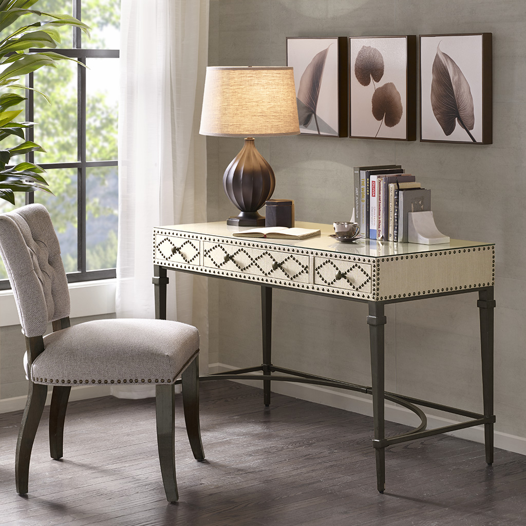 Madison Park - Senna 3 Drawers Study Writing Desk with Glass Top and Metal Legs - Cream/Graphite - See below