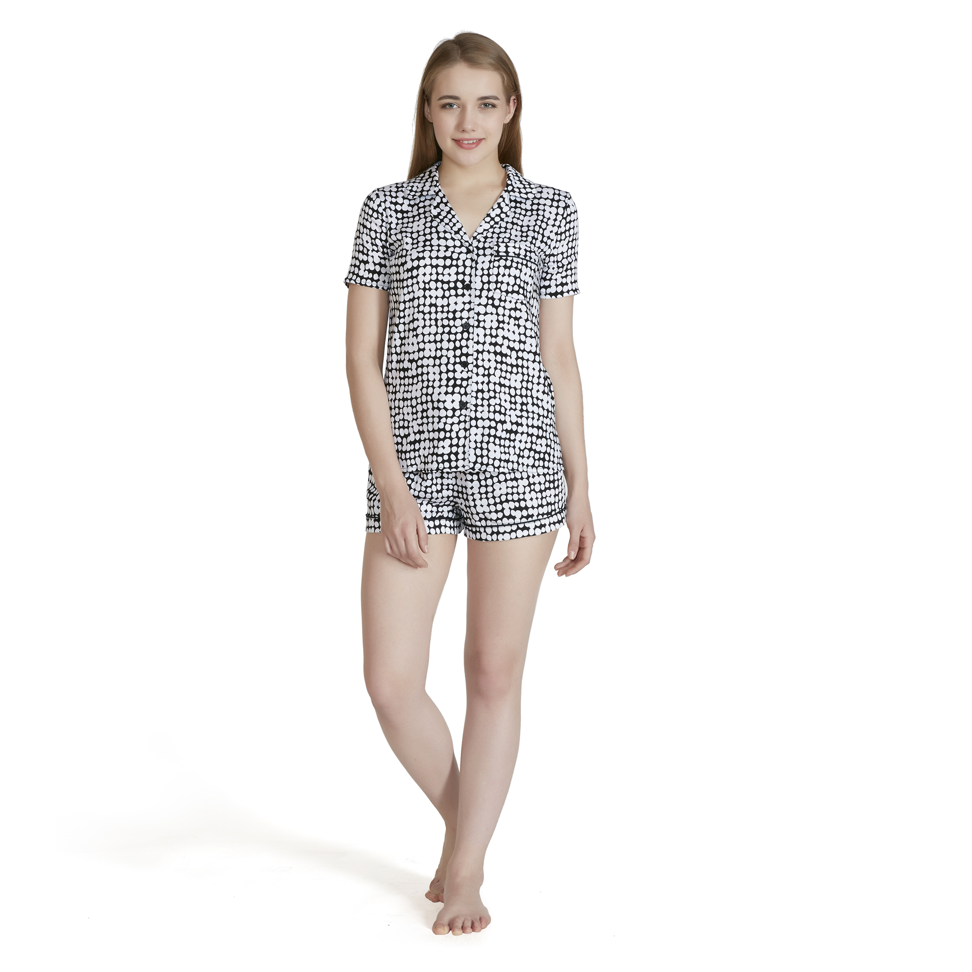 Echo Design - Darby Dot Short Sleeve Pajama Set - Black - Large