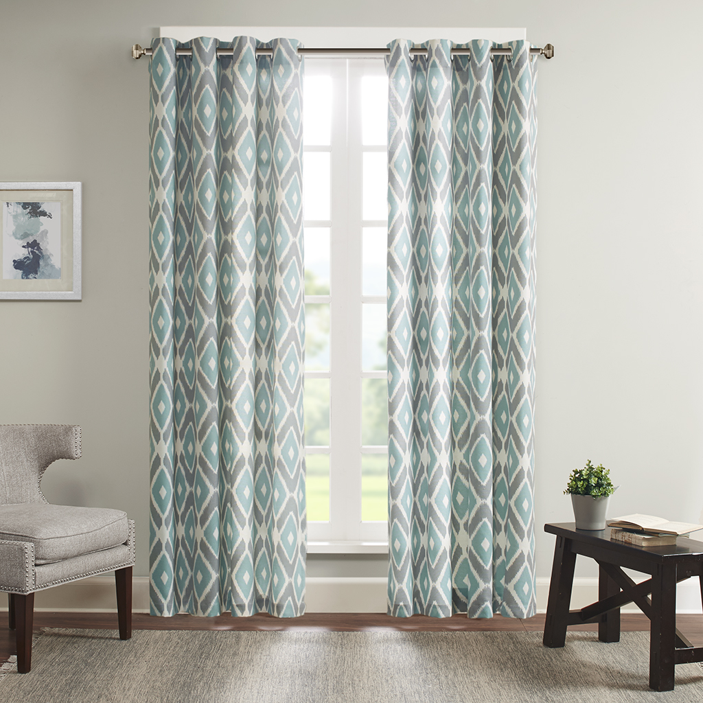 "Madison Park - Ashlin Diamond Printed Window Curtain - Aqua - 63"" Panel"