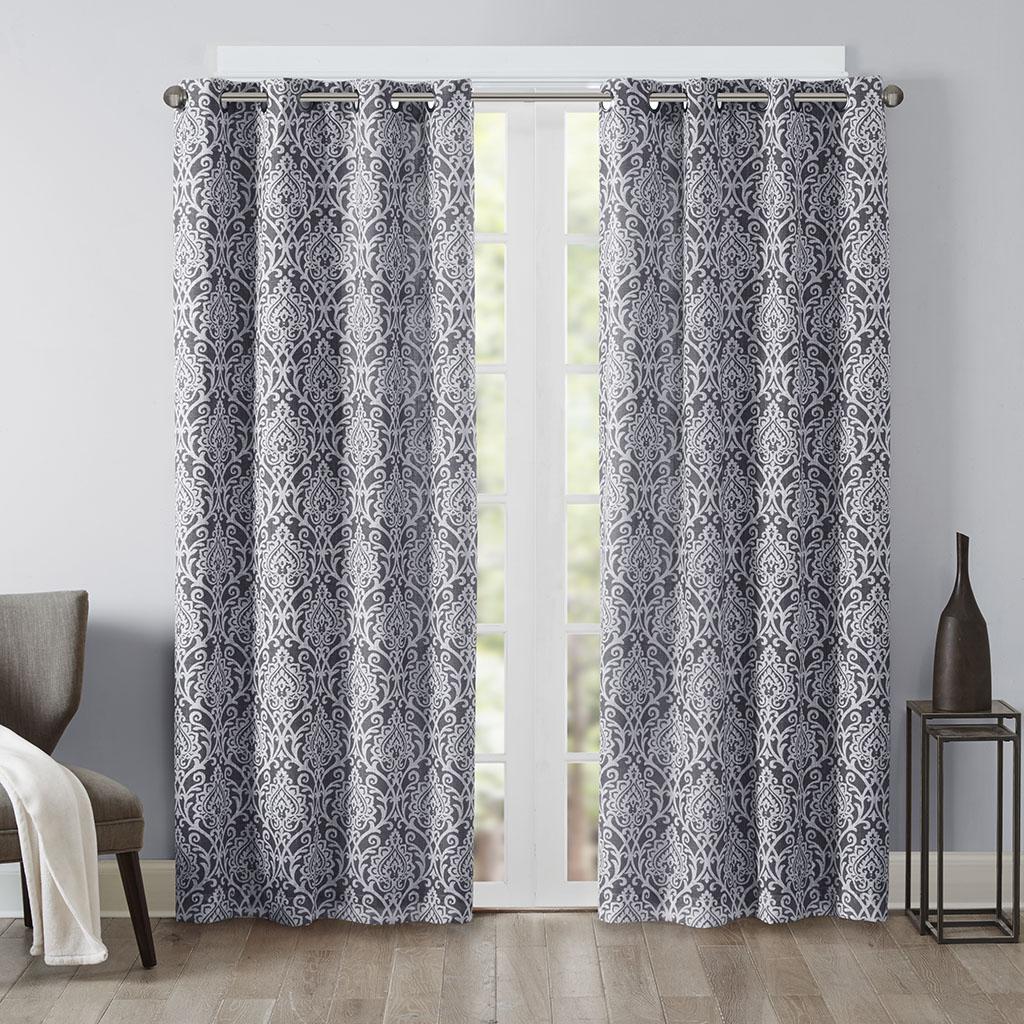 "Madison Park - Barto Texture Damask Printed Panel - Grey - 63"" Panel"