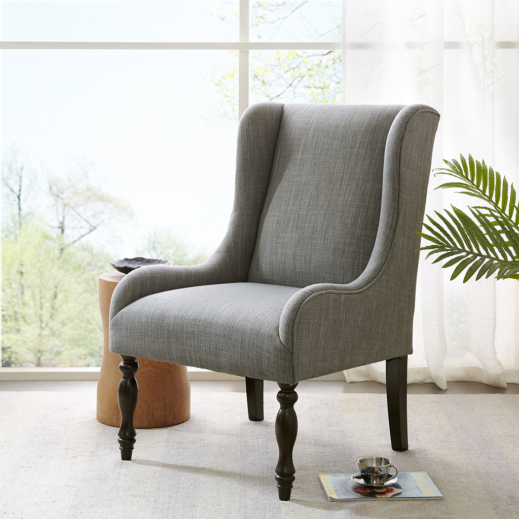 Madison Park - Gable Turned Leg Wing Chair - Slate - See below