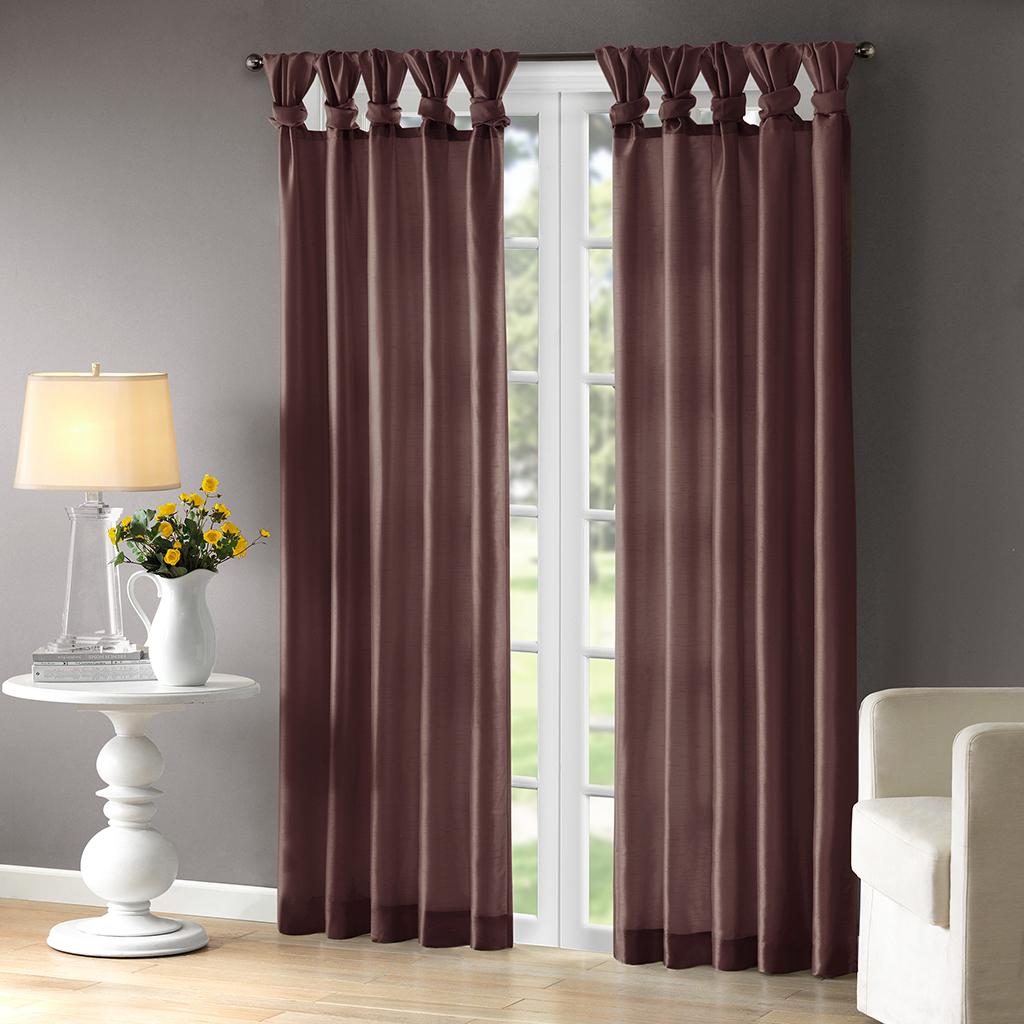 """Madison Park - Emilia Twist Tab Lined Window Curtain - Purple - 95"""" Panel"""