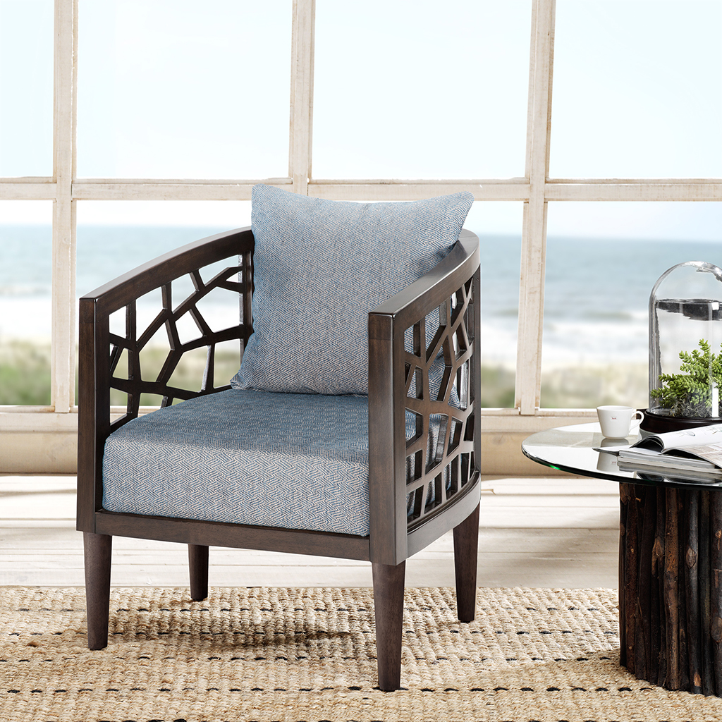 INK+IVY - Crackle Accent Chair - Blue - See below • Hardwood + plywood frame Wood Finish: Morrocco 100% Polyester
