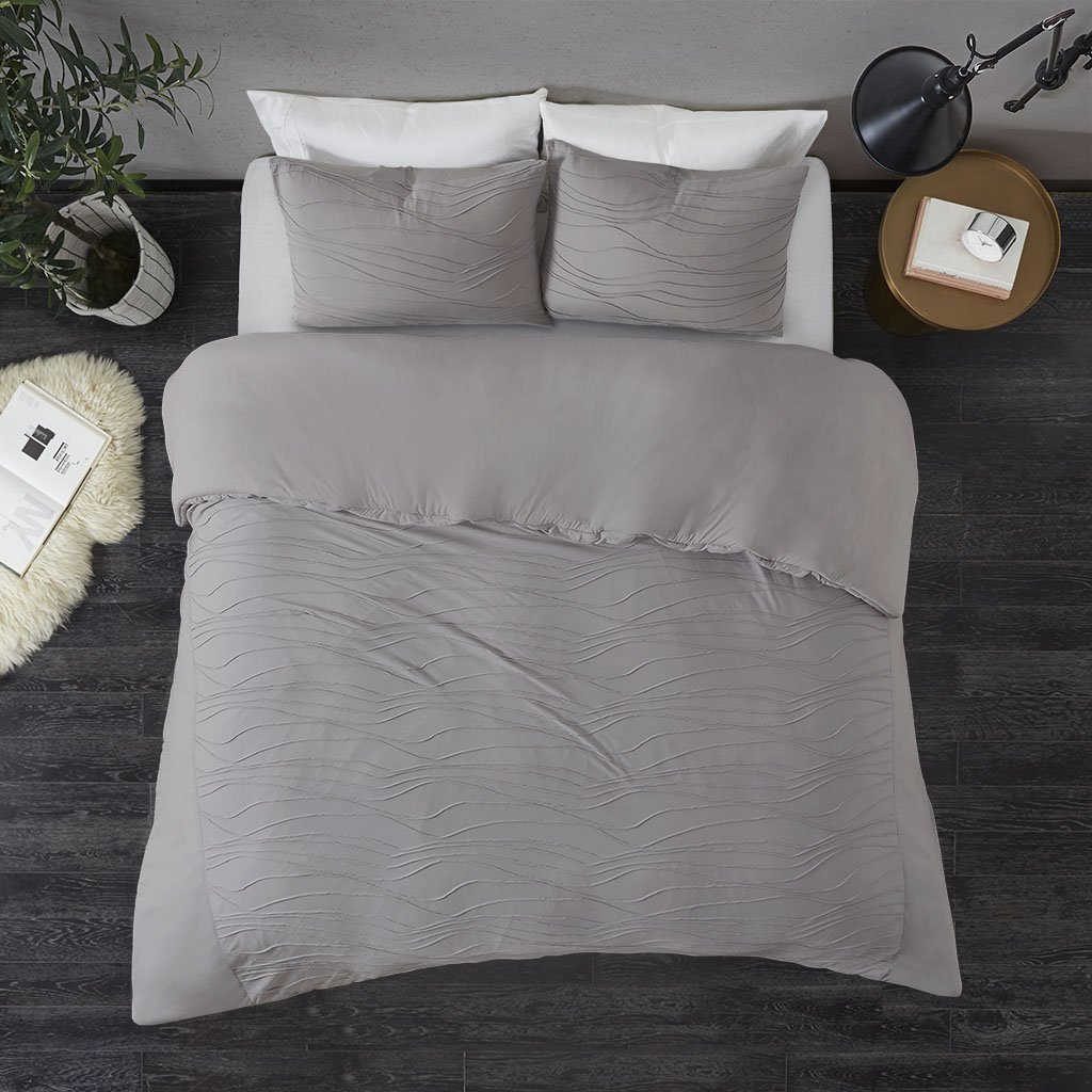 Madison Park - Dion 3 Piece Cotton Blend Jersey Knit Duvet Cover Set - Grey - King/Cal King